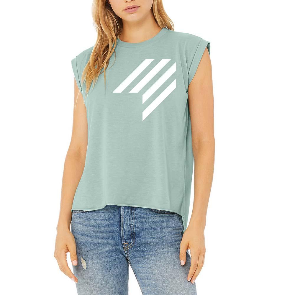 lady model green logo tee shirt