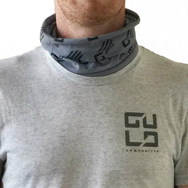 neck gaitor on mans neck