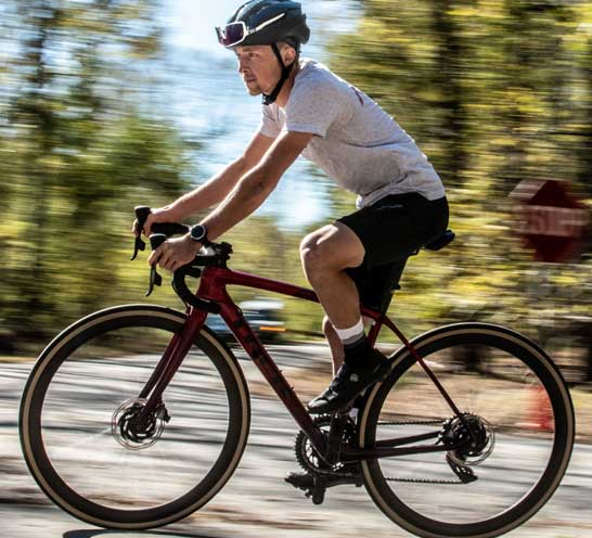 road biker in motion