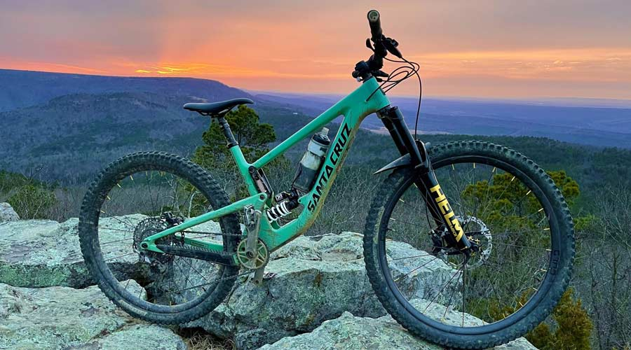 mountain bike on top of mountain