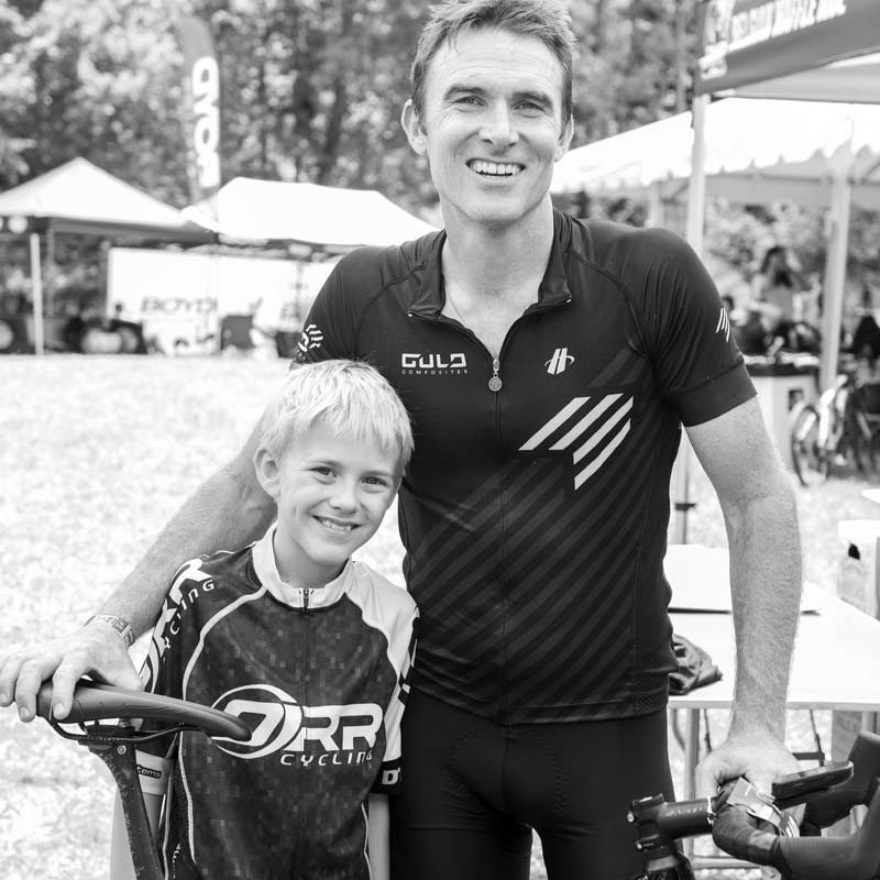 cyclist and son